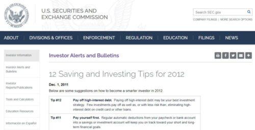 美国证监会(SEC)给美国投资者的12个建议